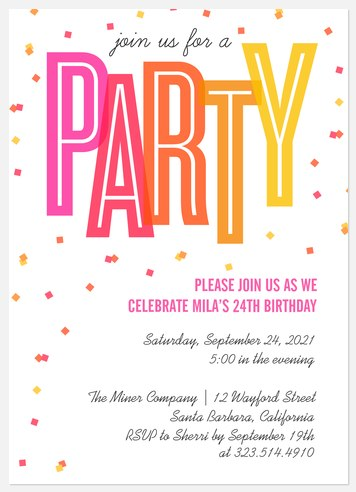 Scattered Confetti Adult Birthday Invitations