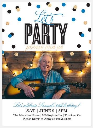 Sprinkled Confetti Adult Birthday Invitations