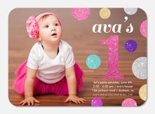 Glitter Dots - Photo Birthday Invitations