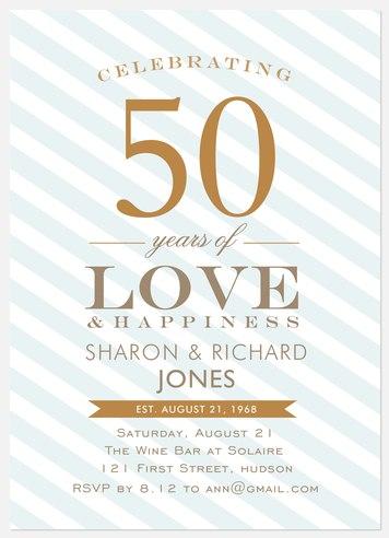 Blue Anniversary Stripe Anniversary Invitations