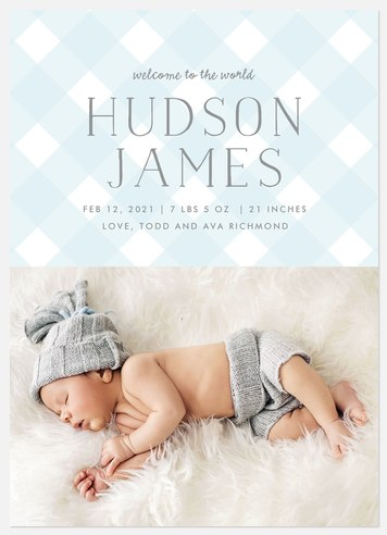 Preppy Gingham Baby Birth Announcements