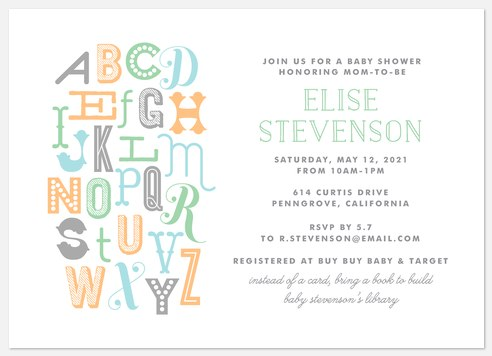 Alphabet Commotion Baby Shower Invitations
