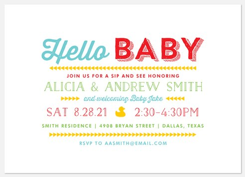 Playful Typography Baby Shower Invitations