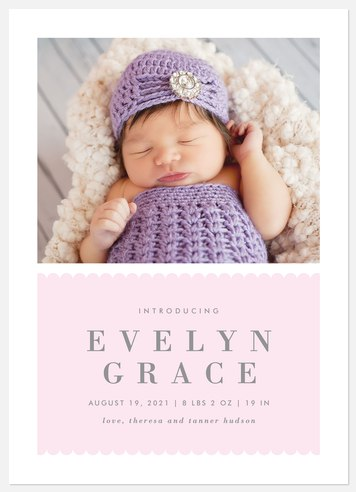 Lovable Scallops Baby Birth Announcements