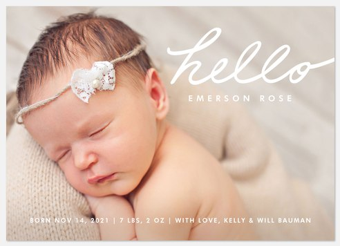 Graceful Hello Baby Birth Announcements