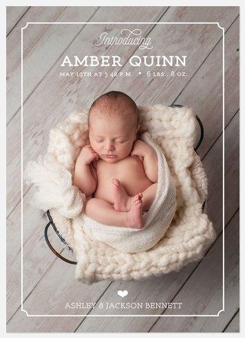 Modern Frame Baby Birth Announcements