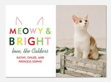 Pet Christmas Card - Meowy & Bright