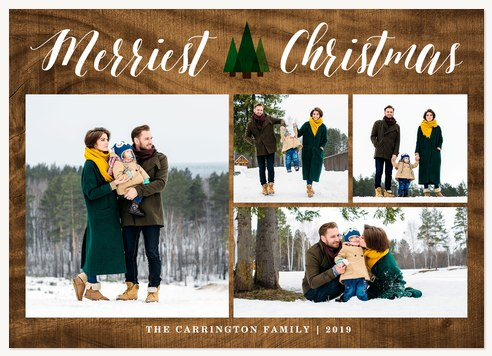Personalized Holiday Cards, Mod Evergreen  Design