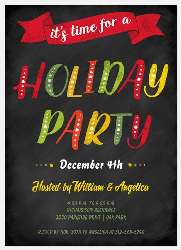 Colorful Celebration Holiday Party Invitations