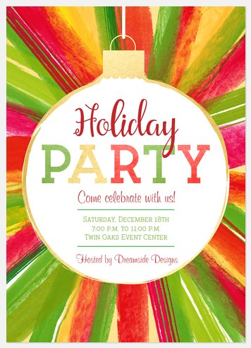 Colorful Burst Holiday Party Invitations