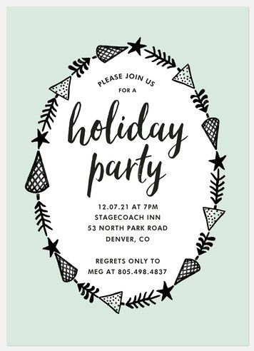 Evergreen Trimmings Holiday Party Invitations