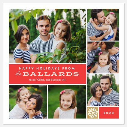 Red Holiday Collage Holiday Photo Cards