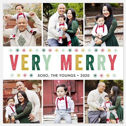 Colorful Snowflakes Holiday Photo Cards