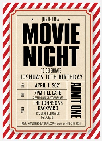 Movie Night Kids' Birthday Invitations