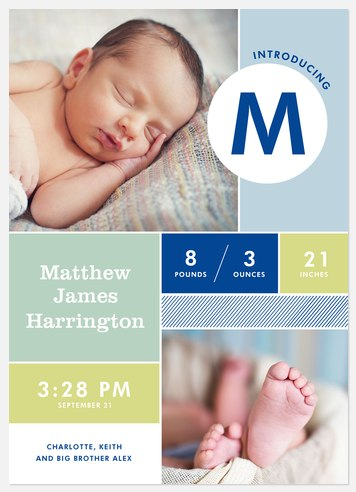 Mod Collage Baby Birth Announcements