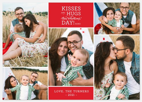 Kisses and Hugs Valentine Photo Cards