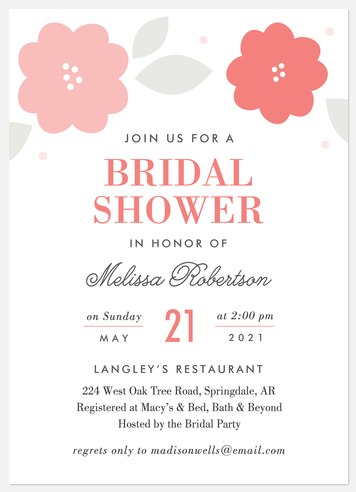 Sweet Blooms Bridal Shower Invitations