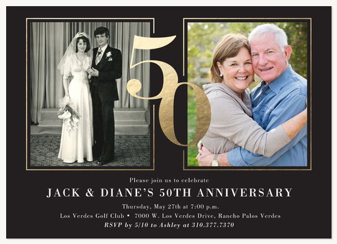 Then To Now Wedding Anniversary Invitations