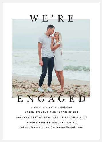Modern Classic Engagement Party Invitations