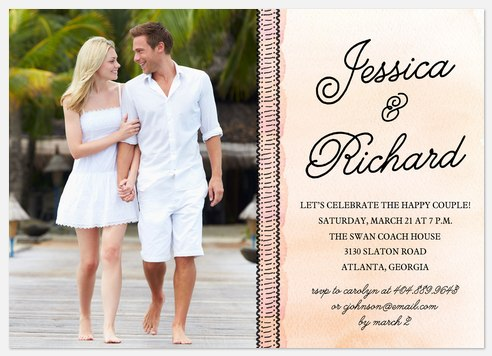 Watercolor Album Engagement Party Invitations