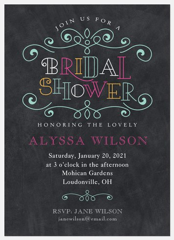 Ornate Chalk  Bridal Shower Invitations