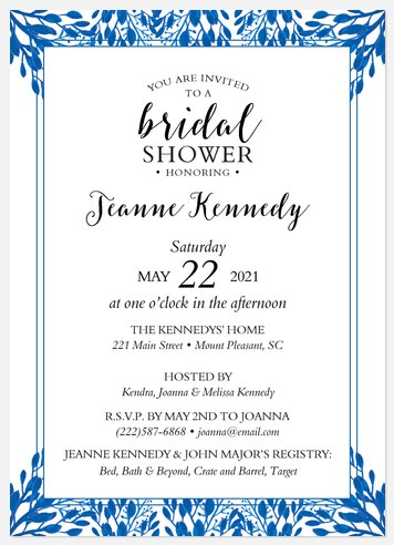 Forested Trim Bridal Shower Invitations
