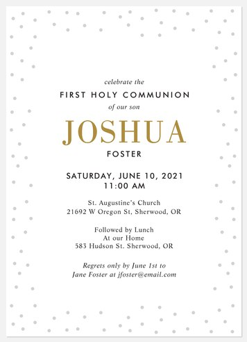 Confetti Gleam First Communion Invitations