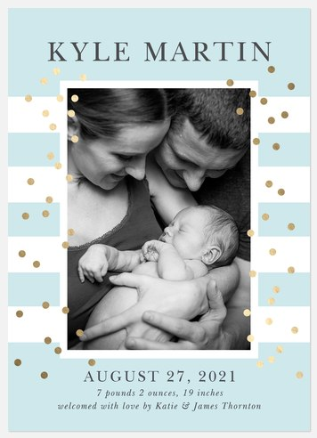 Spectacular Dots Baby Birth Announcements