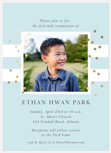 Spectacular Dots First Communion Invitations