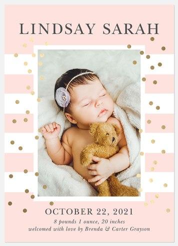 Confetti Stripes Baby Birth Announcements