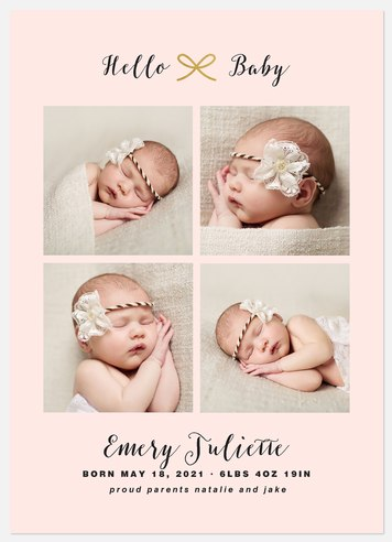 Gilded Bow Baby Birth Announcements