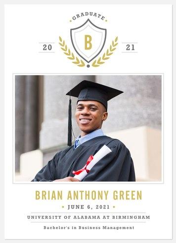 Monogram Crest Graduation Cards