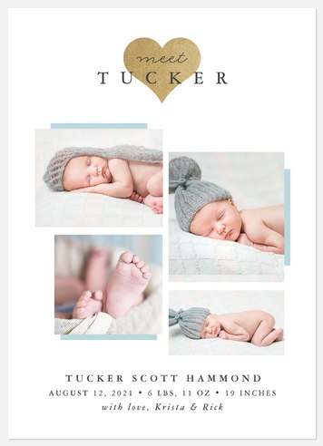 Shimmering Heart Baby Birth Announcements