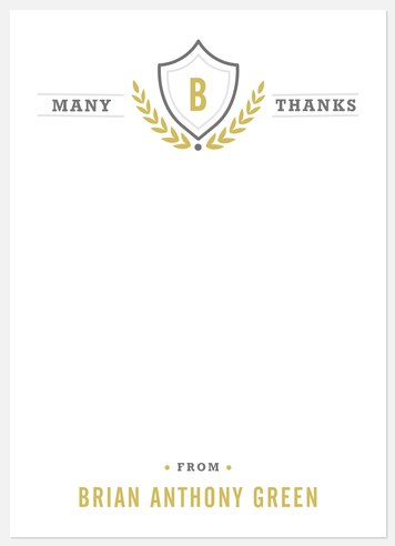 Monogram Crest Thank You Cards