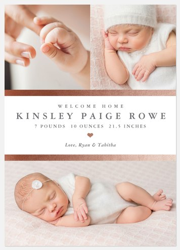 Rosy Arrival Baby Birth Announcements