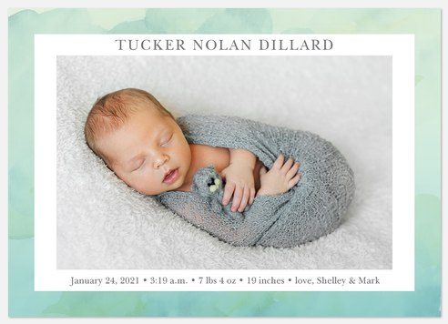 Aquarelle Dreams Baby Birth Announcements