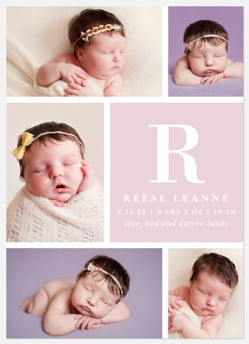 Lovely Initial  Baby Birth Announcements