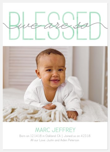 Beyond Blessed: Mint Baby Birth Announcements