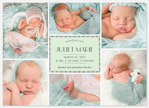 Vintage Nameplate Baby Birth Announcements