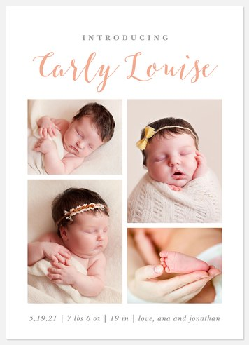 Elegant Arrival Baby Birth Announcements