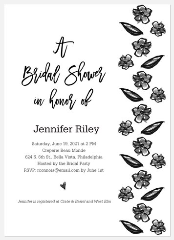 Bouquet Sketches Bridal Shower Invitations
