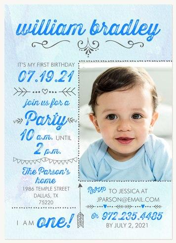 Blue Birthday Chart Boy Birthday Party Invitations