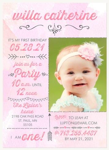 Pink Birthday Chart Kids Birthday Invitations