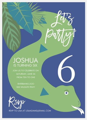Party Python Kids' Birthday Invitations
