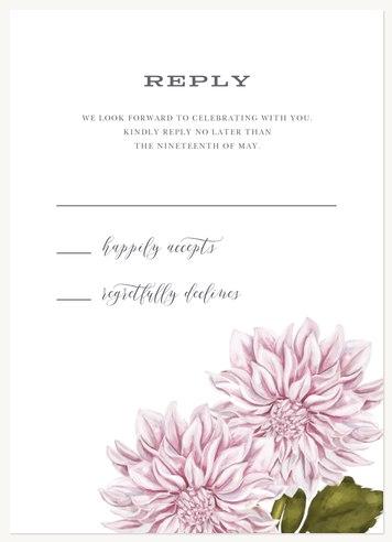 Dahlia Adornment Wedding RSVP Cards