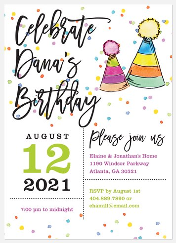 Confetti Pop Adult Birthday Invitations