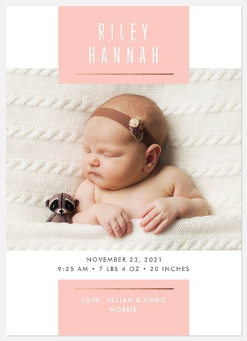 Baby Blush Baby Birth Announcements