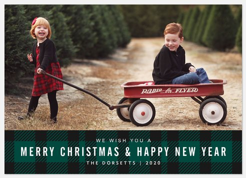 Tartan Banner Holiday Photo Cards
