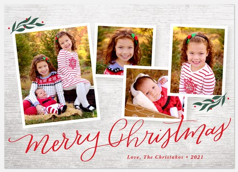 Woodgrain Collage Holiday Photo Cards