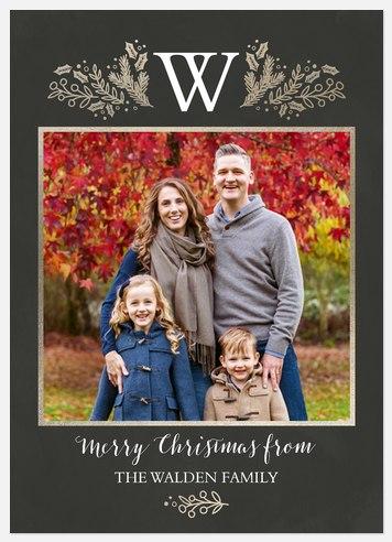 Monogram Elegance Holiday Photo Cards